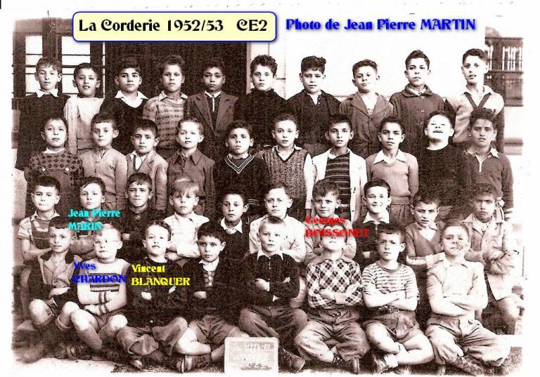 La Corderie 1952.53 CE2 avec noms